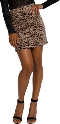 Good American Itty Bitty Leopard Velveteen Miniskirt