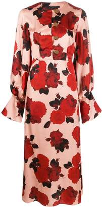 Mother of Pearl button down rose print dress