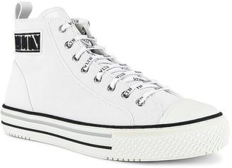 Valentino High-Top Sneaker in White & Black & Pastel Grey | FWRD
