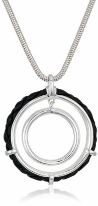 Chaps Women's Silver/Jet Leather Circle Pendant Necklace