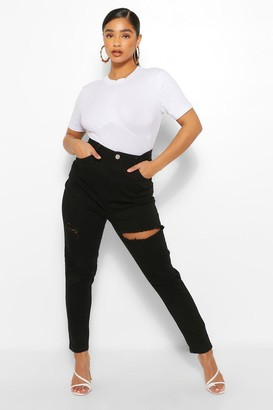 boohoo Plus Distressed Rip Knee Skinny Jean