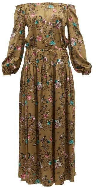 Adriana Iglesias Creek Floral Print Silk Blend Satin Maxi Dress - Womens - Brown Multi
