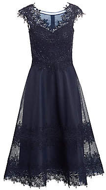 Teri Jon by Rickie Freeman Women's Illusion Cap-Sleeve Fit-&-Flare Dress