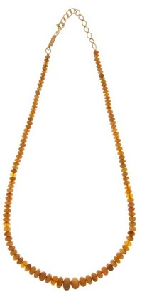 Azlee Opal & 18kt Gold Beaded Necklace - Brown Multi