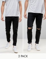 Asos Skinny Jeans 2 Pack In Black & Black With Knee Rips