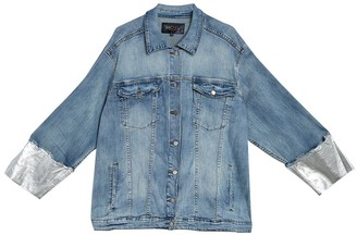 Rachel Roy Foil Cuffed Denim Jacket (Plus Size)