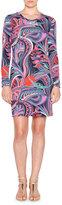 Emilio Pucci Long-Sleeve Multi-Print Sheath Dress, Nero/Smeraldo
