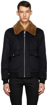 Mackage Navy Wool and Shearling Theo Bomber Jacket