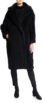 Max Mara Alpaca-Silk Teddy Knit Coat, Black