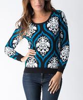 Yuka Paris Black & Turquoise Brocade Sweater