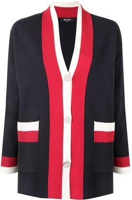 Twin-Set stripe-detail V-neck cardigan