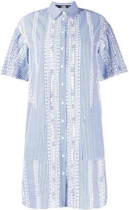Karl Lagerfeld Paris Striped Embroidered Shirt Dress