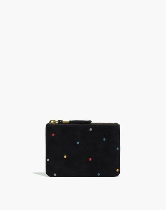 Madewell The Suede Pouch Wallet: Embroidered Dot Edition