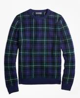 Brooks Brothers Merino Wool Black Watch Crewneck Sweater