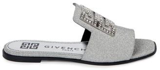 Givenchy 4G Flat Embellished Glitter Leather Sandals