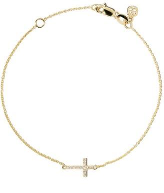 Sydney Evan 14kt Yellow Gold Diamond Cross Bracelet