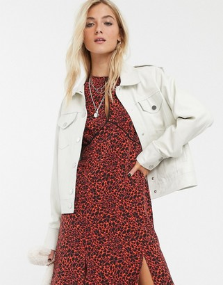 Topshop boxy leather jacket in white