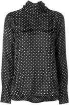 Alberto Biani polka dot tie collar top - women - Silk - 40