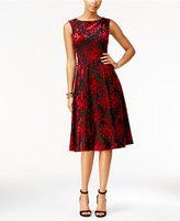 Betsey Johnson Burnout Velvet Tea-Length Midi Dress