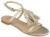 Marc Fisher Crystal Tassel-Accented Leather Sandals
