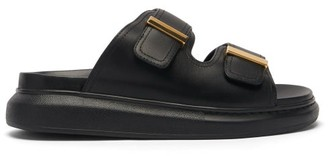 Alexander McQueen Double-strap Leather Sandals - Black Gold