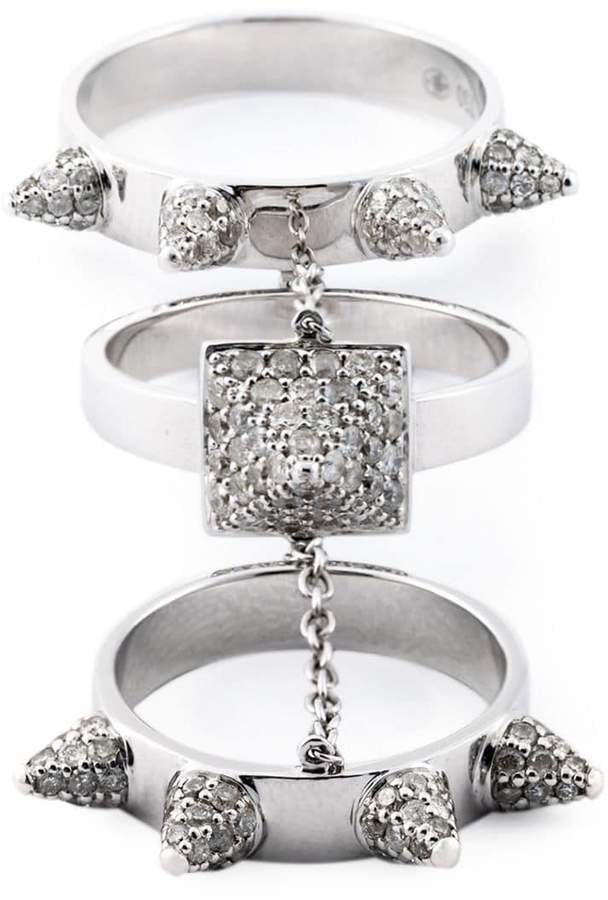 Elise Dray diamond three-piece 'Piccadilly' ring
