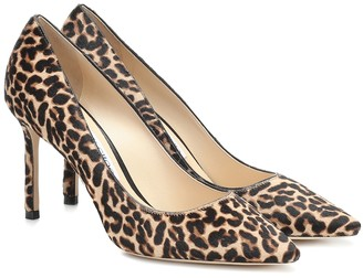 Jimmy Choo Romy 85 leopard-print calf-hair pumps