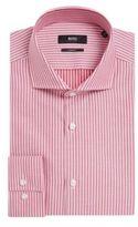 Hugo Boss Jason Slim Fit, Spread Collar Cotton Dress Shirt 17 Red