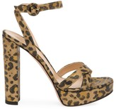 Gianvito Rossi Poppy Leopard-Print Metallic Leather Platform Sandals