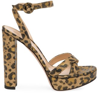 Gianvito Rossi Poppy Leopard-Print Metallic Leather Platform Sandals