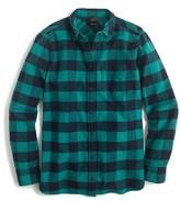 J.Crew Women's Buffalo Check Cotton & Wool Boy Shirt