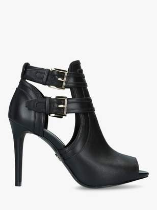 Michael Kors MICHAEL Blaze Leather Peep Toe Stiletto Shoe Boots, Black