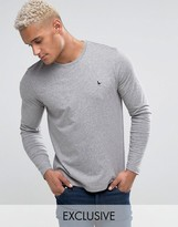Jack Wills T-Shirt With Long Sleeves And Logo In Gray Marl Exclusive
