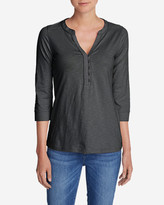 Eddie Bauer Women's 3/4-Sleeve Knit/Woven Henley Shirt