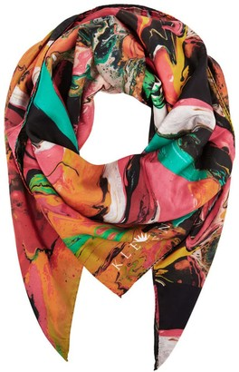 Klements Large Scarf In Marbling Print