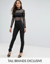 True Decadence Tall Long Sleeve Mesh Detail Jumpsuit