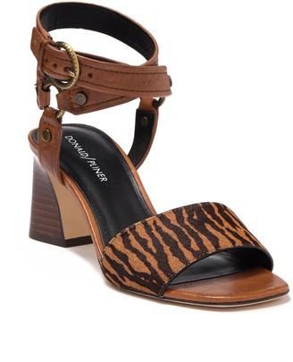 Donald J Pliner Ding Genuine Zebra Print Calf Hair Stacked Sandal