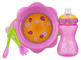 Nuby 3pc Flower Chile Baby Feeding Set - 11oz Super Spout Gripper Cup, Plate, Spoon and Fork