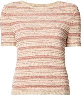 Alice + Olivia Alice+Olivia - striped shortsleeved knit top - women - Cotton/Polyester/Nylon/Viscose - S