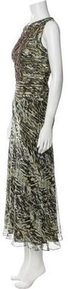 Carmen Marc Valvo Animal Print Long Dress Green