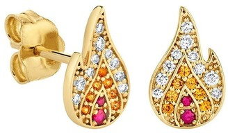 Sydney Evan 14kt Yellow Gold Pave Diamond, Ruby And Sapphire Flame Studs