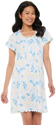 Miss Elaine Petite Essentials Soft Interlock Print Capri Pajama Set