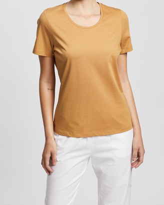 David Lawrence Women's Yellow Basic T-Shirts - Siren Scoop Neck Tee - Size One Size, M at The Iconic