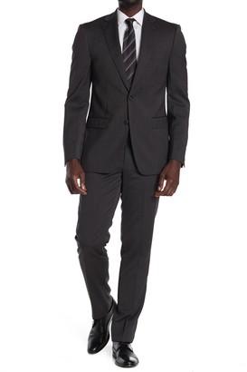 Calvin Klein Charcoal Wool Two Button Notch Lapel Suit