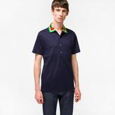 Paul Smith Men's Navy Cotton-Pique Contrast-Collar Polo Shirt