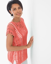 Chico's Gloria Crochet Pullover in Party Punch