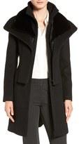 Soia & Kyo Multilayer Bib Wool Blend Coat with Faux Fur Trim