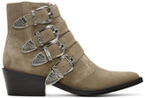 Toga Pulla Khaki Suede Four-Buckle Western Boots