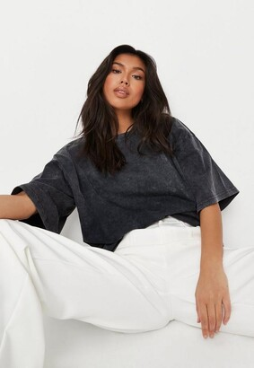 Missguided Tall Gray Drop Shoulder Oversized Washed Top