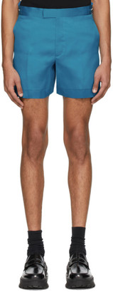 Helmut Lang Blue Silk Satin Shorts